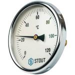 """Термометр биметаллический STOUT 100 мм с погружной гильзой 50 мм 1/2"""" 0-120°С SIM-0001-105015"""
