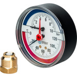 "Термоманометр STOUT 80 мм 1/2"" 0-120°C 0-10 бар, с автоматическим запорным клапаном SIM-0005-801015"