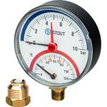 """Термоманометр радиальный STOUT 80 мм 1/2"""" 0-120°C 0-10 бар, с автоматическим запорным клапаном SIM-0006-801015"""