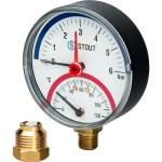 """Термоманометр радиальный STOUT 80 мм 1/2"""" 0-120°C 0-6 бар, с автоматическим запорным клапаном SIM-0006-800615"""