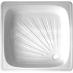 Душевой поддон квадратный стальной 80х80х13 см белый
