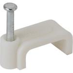 Скоба Эра плоская пластик белый 7 мм, 50 шт. Б0038906