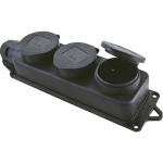 Розетка трехместная EKF Basic RPS-015-16-230-44 каучуковая с крышками 230В 2P+PE 16A IP44