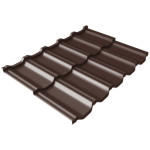Металлочерепица модульная Grand Line Kvinta Uno c 3D резом 0.5 Satin 0.72 м RAL 8017 шоколад