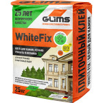 Клей плиточный Glims WhiteFix для внутренних и фасадных работ, для балконов, бассейнов 25 кг
