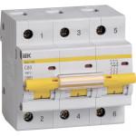 Автоматический выключатель 3-полюсной IEK ВА 47-100 80A 10 кА тип С