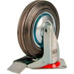 Большегрузное колесо Euro-Lift поворотное с тормозом обрезиненное грузоподъемность 200 кг 200х50 мм