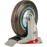Большегрузное колесо Euro-Lift поворотное с тормозом обрезиненное грузоподъемность 100 кг 125х37.5 мм