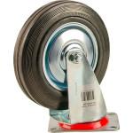 Большегрузное колесо Euro-Lift поворотное без тормоза обрезиненное грузоподъемность 100 кг 125х37.5 мм