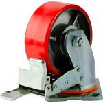 Большегрузное колесо Euro-Lift С-4102-DUS поворотное с тормозом и полиуретановой шинкой грузоподъемность 600 кг