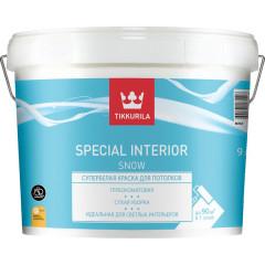 Краска для потолка Tikkurila Special Interior Snow глубоко-матовая белая 9 л