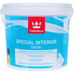 Краска для потолка Tikkurila Special Interior Snow глубоко-матовая белая 2.7 л