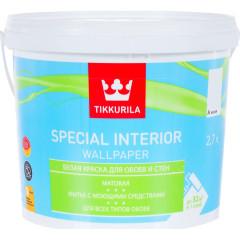 Краска для обоев Tikkurila Special Interior Wallpaper матовая база А белая 2.7 л