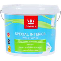 Краска для обоев Tikkurila Special Interior Wallpaper матовая база А белая 5 л