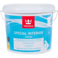 Краска для потолка Tikkurila Special Interior Snow глубоко-матовая белая 5 л