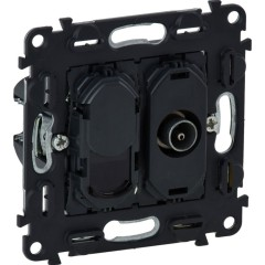 Розетка комбинированная Legrand In Matic TV+RJ45 6 UTP механизм под рамку черный