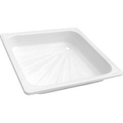 Душевой поддон квадратный стальной 90х90х13 см белый