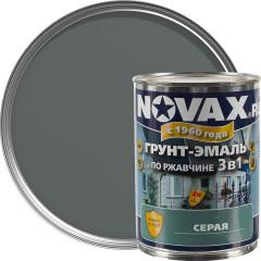Грунт-эмаль 3 в 1 антикоррозионная Novax 7042 матовая серая 0.8 л