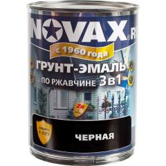 Грунт-эмаль 3 в 1 антикоррозионная Novax 9005 матовая черная 0.8 л