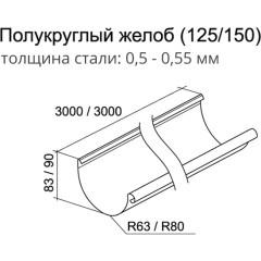 Желоб водосточный полукруглый Grand Line 125 мм сигнальный белый 0.55 мм, 3 м