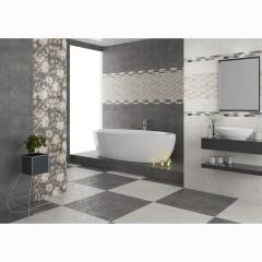 Бордюр настенный LB-Ceramics Fiori Grigio 6,5x60 см