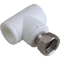 Тройник комбинированный с накидной гайкой Пластик PP-R D 20х1/2 белый