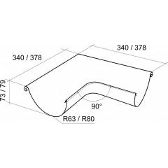 Угол желоба внешний Grand Line 90° 125 мм шоколад 0.55 мм