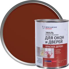 Эмаль для окон и дверей алкидно-уретановая Ярославские краски красное дерево 0.9 кг