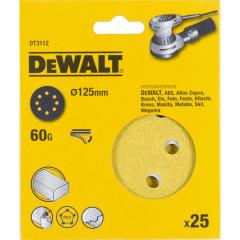 Шлифовальные круги Dewalt 8 отверстий 60G d 125 мм, 25 шт.