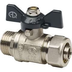Кран шаровой для металлополимерных труб Aqualink 00876 цанга-штуцер бабочка никелированный М 1/2ʺх16 В 10 бар