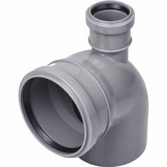 Отвод полипропиленовый Ростурпласт универсальный 110 мм с выходом 50 мм 87 градусов фронт-вверх
