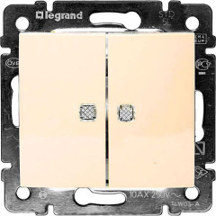 Переключатель двухклавишный на два направления с подсветкой Legrand Valena 10 А 250 В слоновая кость