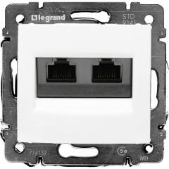 Информационная розетка Legrand Valena RJ45 категория 5e UTP 2 выхода с захватами белая