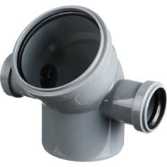 Отвод полипропиленовый Ростурпласт универсальный 110 мм с выходом 50 мм 87 градусов левый-правый