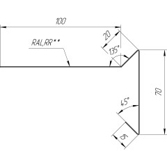 Планка ветровая для мягкой кровли Grand Line 100х20х70 мм 0.45 мм PE с пленкой RAL 7024 мокрый асфальт 2 м