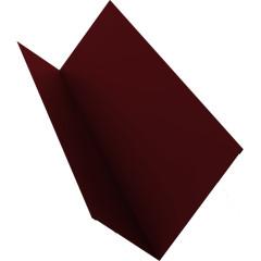 Планка примыкания для мягкой кровли Grand Line 20x45x15x10 мм 0.45 мм PE с пленкой RAL 3005 красное вино 2 м