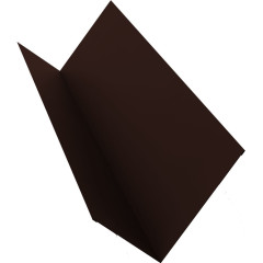 Планка примыкания для мягкой кровли Grand Line 20x45x15x10 мм 0.45 мм PE с пленкой RAL 8017 шоколад 2 м