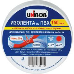 Изолента Unibob ПВХ 150 мкм 19 мм x 20 м белая