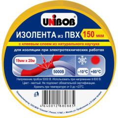 Изолента Unibob ПВХ 150 мкм 19 мм x 20 м желтая