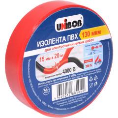 Изолента Unibob ПВХ 130 мкм 15 мм x 20 м красная