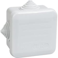Коробка распаячная для открытой проводки IEK КМ41255 IP44 RAL7035 6 гермовводов защелкивающаяся крышка 100х100х50 мм
