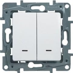 Выключатель Legrand Etika 2-клавишный с подсветкой встроенный 230 В 10 А белый