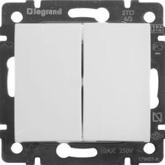 Выключатель Legrand Valena 2-клавишный встроенный 250 В 10 А белый