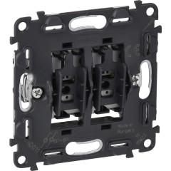 Механизм выключателя Legrand Valena 2-клавишного встроенный 250 В 6 А черный