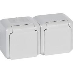 Розетки 2 х 2К+З с защитными шторками 16 A 250 В~ IP 44 Серый