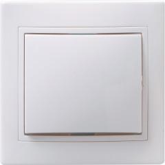 Выключатель IEK Кварта ВС10-1-0-КБ 1-клавишный встроенный 250 В 10 А белый