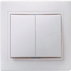 Выключатель IEK Кварта ВС10-2-0-КБ 2-клавишный встроенный 250 В 10 А белый