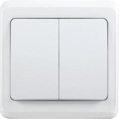 Выключатель IEK Вега ВС10-2-0-ВБ 2-клавишный встроенный 250 В 10 А белый