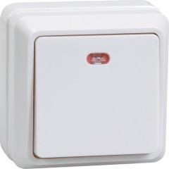 Выключатель IEK Октава ВС20-1-1-ОБ 1-клавишный с подсветкой накладной 250 В 10 А белый