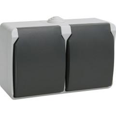 Розетка с крышкой двойная IEK Форс РСб22-3-ФСр о/у с заземлением с защитными шторками IP54 винтовые зажимы в сборе белая